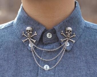 Silver Skull and Crossbones Collar Chain/ Cardigan Clip