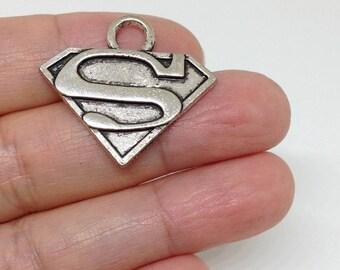 6pcs Superman Charm, Superman Pendant, Super Hero Charms