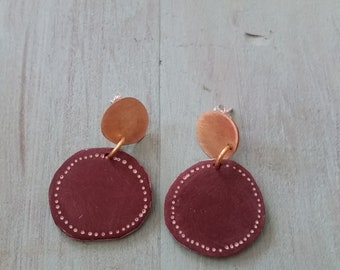 Brass earrings with polymer clay detail