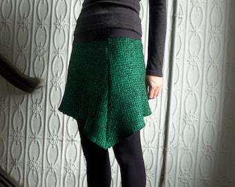 Mini Skirt in Green and Black Wool - Womens Skirt, Green Skirt, Holiday Skirt, Fun Skirt, Comfy Skirt, Gift for Her, Size 8, 10