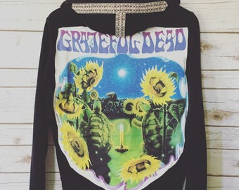 Black Grateful Dead Terrapin Station Custom Woven Trim Zip Up Sweater Hoodie Sweatshirt Festival Womens Made To Order In Your Size