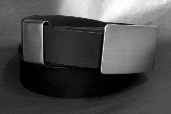 Men's Belt & Buckle SET ~ Brushed Stainless Suit Buckle with Hand Dyed Leather 1-1/4