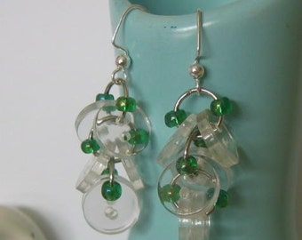 Crystal and Shimmery Green Buttoned Dangles
