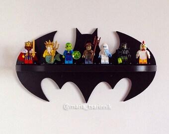 Wooden shelf Batman superhero, logo, home decor, batman arkham knight, batman vs superman, lego shelf, comics, kids decor, gift for men