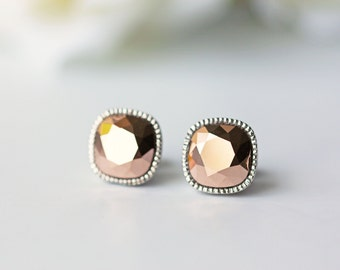 Rose Gold Swarovski Crystal Titanium Stud Earrings Pink Gold Square Silver Bezel Earrings