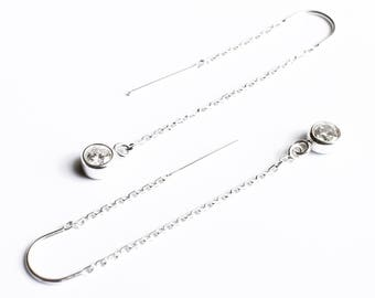 Diamond Earrings, Crystal Threader Earrings, Sterling Silver Ear Threads, Long Chain Earrings, Bezel CZ Charm Bridesmaid Earrings