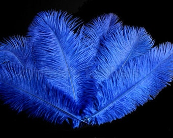 """8 Grade A 12-14"""" Royal Blue Ostrich Drab Plume Feathers Wedding, Millinery, NEW S-11"""