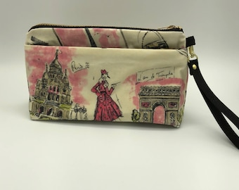 Waxed Canvas Clutch - Pink and Black Paris Fabric