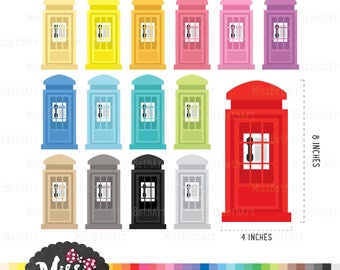 30 Colors Telephone Booth/ Vintage phone Booth, England Clipart - Instant Download