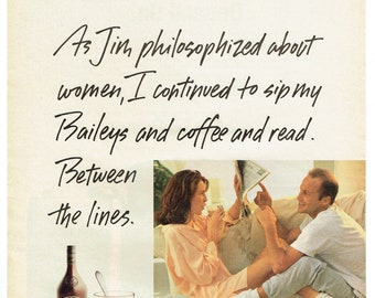 1992 Advertisement Bailey's Irish Cream Liqueur Philosophize About Women Read Between Lines 90's Couple Bar Pub Restaurant Wall Art Decor