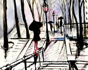 Montmartre Paris Watercolor Painting - Wanderlust Collection - Lana Moes' Art - Montmartre Stairs Drawing - Parisian Girl Art Print