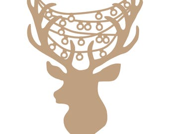 Reindeer Head with Lights Christmas Cut File .SVG .DXF .PNG