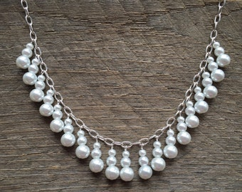 White Pearl Necklace Bib on Silver or Gold Chain Bridal Dangle Neckace