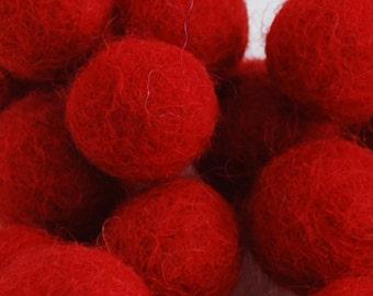 2cm Felt Balls - Red - Choose either 20 or 100 felt balls