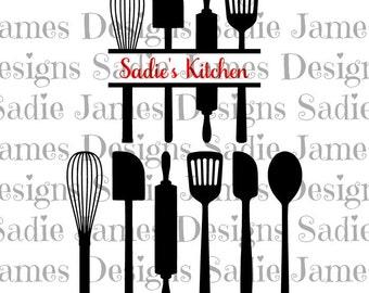 Kitchen Utensils - Split SVG and Silhouette Studio cutting file, Instant Download