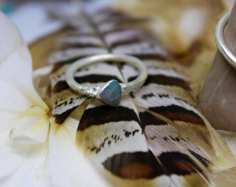 Handmade Electroformed Silver Amazonite Ring Unique Gift Present Bohemian Boho UK Size M