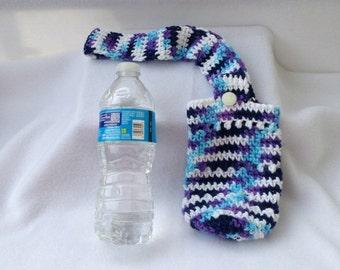 Crochet water bottle bag, water bottle holder, water bottle carrier, cozy, drink bottle tote, drink bottle holder, bottle bag, water bag