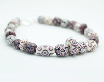 Purple and cream Marrakesh glass bead statement necklace