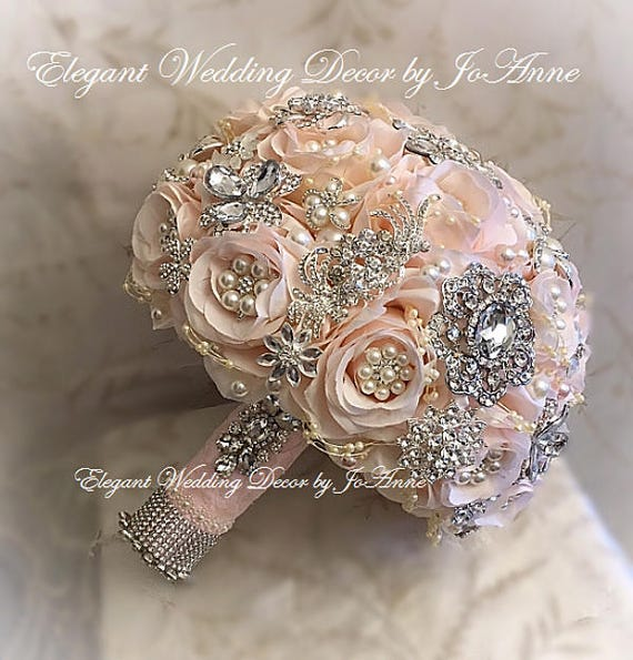 Pink and Silver Bridal Brooch Wedding Bouquet Pink and Silver