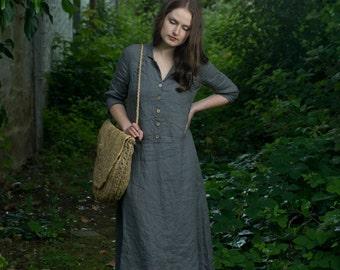 Work Linen Dress   maxi