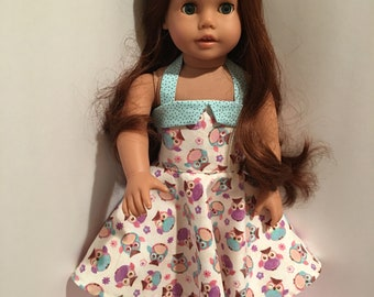 """18 inch doll dress - Handmade owl print sundress, fits American Girl, Our Generation and other 18 """" dolls"""