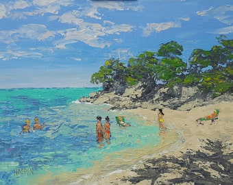 "Dominican Republic, acrylics on canvas panel, 12""x16"", original, signed, plein air"
