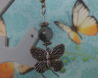 Jade earrings several shades of grey/black and silver metal Butterfly