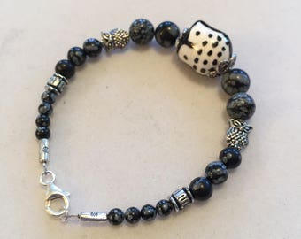 Night Owl black and silver bracelet