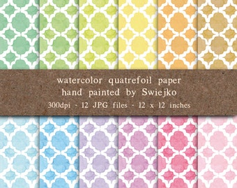 Watercolor Digital Paper, Watercolor Quatrefoil Set, Hand painted Digital Papers, Pastel Color, Backgrounds (4)