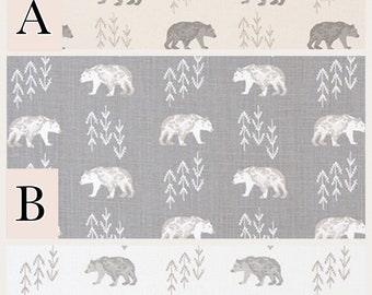 "Premier Prints-Cubby-Bears-Cubs-Fabric-Fabric by the yard-54"" Wide-Check-cotton print-gray-Cream-Khaki"