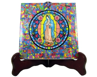 Virgin of Guadalupe - religious gift idea - handmade - ceramic tile - wall hanging - catholic decor - Christian art - Our Lady of Guadalupe