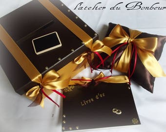 box set, guest book and pillow