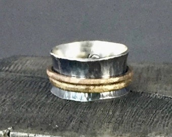 Spinner Ring, Hammered Sterling Silver, Oxidized with Brushed Bronze and Brass Spinning Bands, US Size 7 3/4
