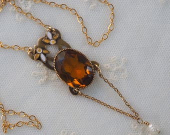Vintage  Faceted Topaz Crystal Enamel Pendant Necklace  - Pearl Drop  - Delicate 14K Gold Filled  Chain