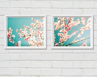 botanical print set floral wall art blossom photography nature 8x10 8x12 set of two fine art photography flower teal art prints pastel decor