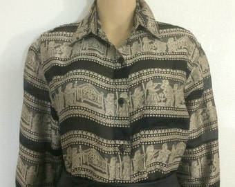 Sheer Black and Tan / Gold Ethnic Egyptian Print / Semi Sheer Blouse / Button Up Loose Fit / Oversized or Plus Size