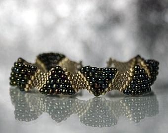 Gold peyote bracelet Seed bead jewelry Beadwoven triangles Beadwork Beaded bracelet Anniversary gift for her