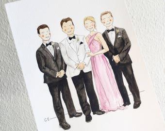 Custom portrait, Event watercolor portrait, personalised watercolour portrait, custom portrait, custom watercolour, family portrait