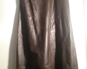 Vintage 70s skirt leather brw maxi Pentik s