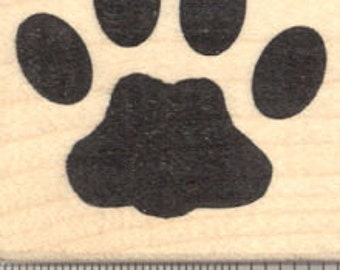 Large Cat Paw Print Rubber Stamp D19609 Wood Mounted