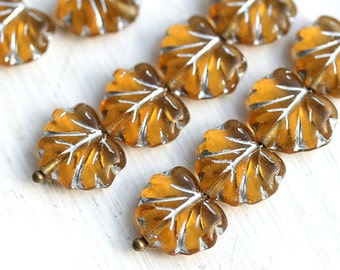 Amber Yellow Czech glass leaf beads, silver inlays, Maple leaves - 11x13mm - 10Pc - 0384
