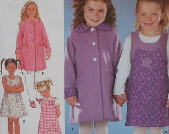 Dress and Coat Sewing Pattern UNCUT Simplicity 9928 Sizes 3-6