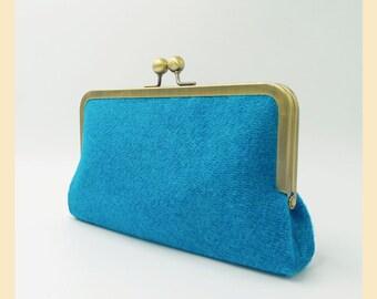 turquoise Harris Tweed clutch bag, blue tweed purse with pink lining, tweed handbag with optional personalisation, winter wedding