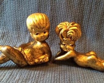 Vintage Gold Leaf Foil Boy and Girl Figures
