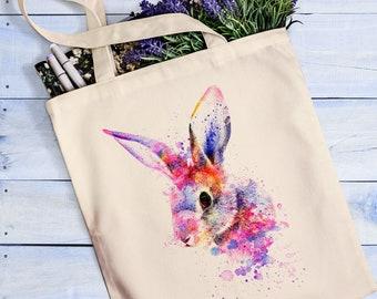 Rabbit tote bag Rabbit lover gift Bunny painting Bunny ears Easter bunny Easter gifts Bunny print Rabbit nose Rabbit tote Rabbit print