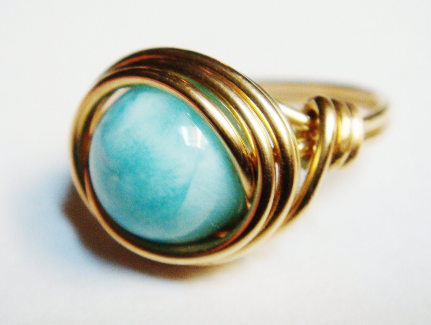 Larimar Ring Larimar Gemstone 14K Gold Filled Ring Wire