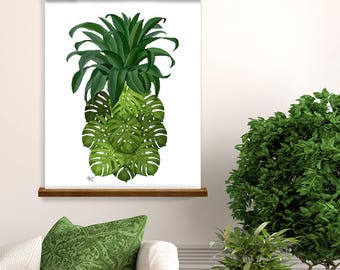 Pineapple print tropical print - Monstera Leaf pineapple - botanical print botanical art tropical wall art tropical decor pineapple art