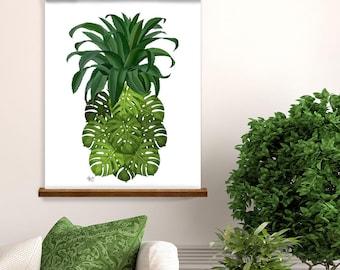 Pineapple print tropical print - Monstera Leaf pineapple - botanical print botanical art tropical wall art tropical decor pineapple art