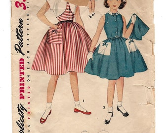 1950s Simplicity #4659 Girls Sleeveless Dress and Short Jacket, Full Gathered Skirt, Vintage Sewing Pattern, Size 7 Breast 25