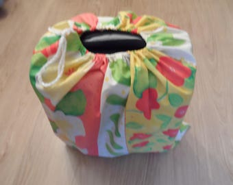 "Yellow floral suitcase ""cabin"" cotton canvas bag"